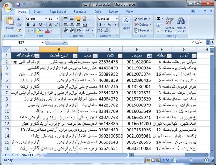 بانک اطلاعات اصناف تهران